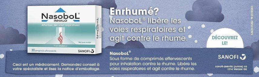 NasoboL® Inhalo libère les voies respiratoires et agit contre le rhume.